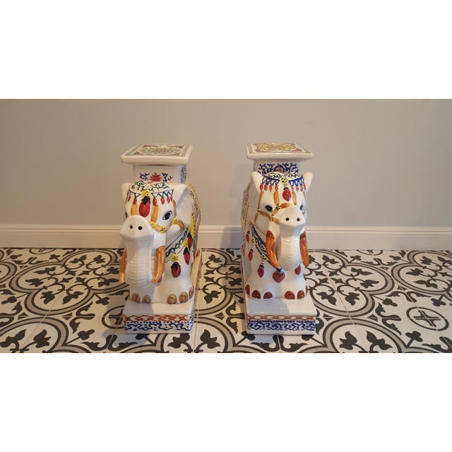 Ceramic Elephant Side Tables - A Pair - Image 6 of 11