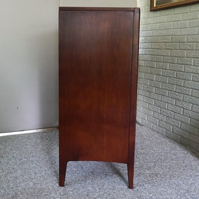 Wood Mid Century Modern Broyhill Emphasis Walnut High Chest of Drawers For Sale - Image 7 of 11