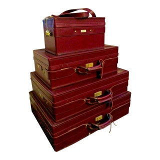 1940's Antique Hartmann Belting Woodbox Pullman Leather Luggage-Set of 4 For Sale