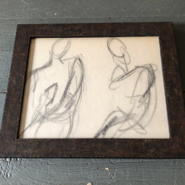 Original charcoal drawing on paper unsigned sketch 8 x 10 overall size with frame is 10 x 12
