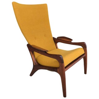 1960s Adrian Pearsall High Back Wing Lounge Chair For Sale