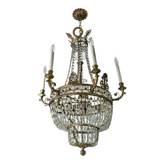 19th Century Palladian Empire Style Chandelier with Baccarat Crystal For Sale