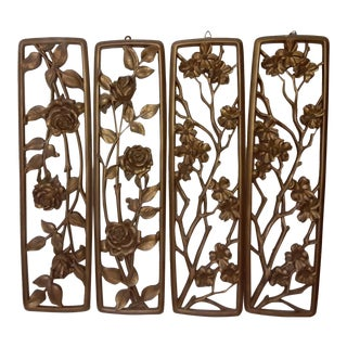 1950's Vintage Syroco Mid-Century Gold Floral Four Seasons Wall Hanging Set - Set of 4 For Sale