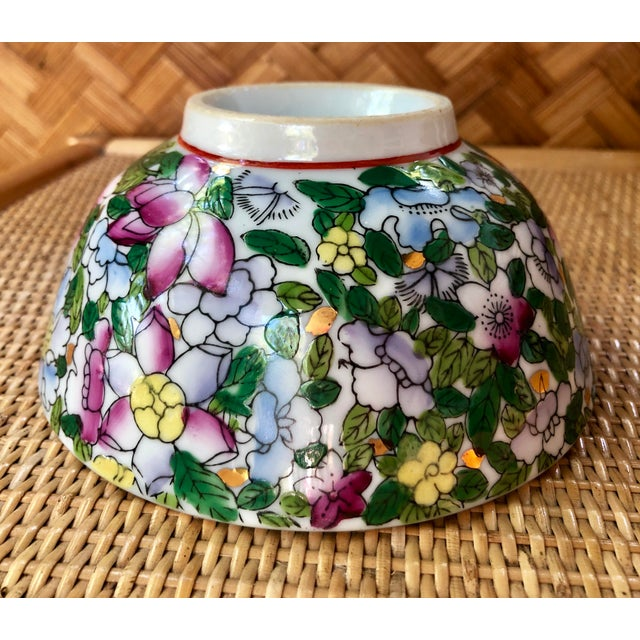 Ceramic Hand Painted Pink Blue and Green Chinoiserie Floral Porcelain Bowl For Sale - Image 7 of 8