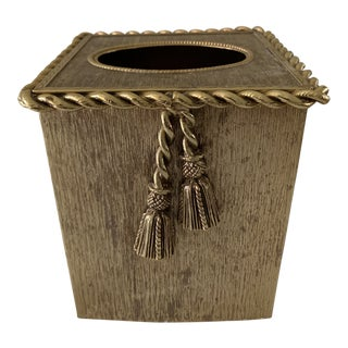 Midcentury 24 Carat Gold Plated Boutique Tissue Box For Sale