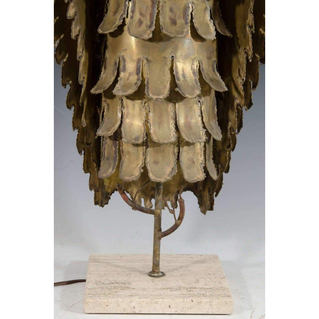 1970s ABSTRACT BRUTALIST OWL TABLE LAMP BY CURTIS JERE For Sale - Image 5 of 5
