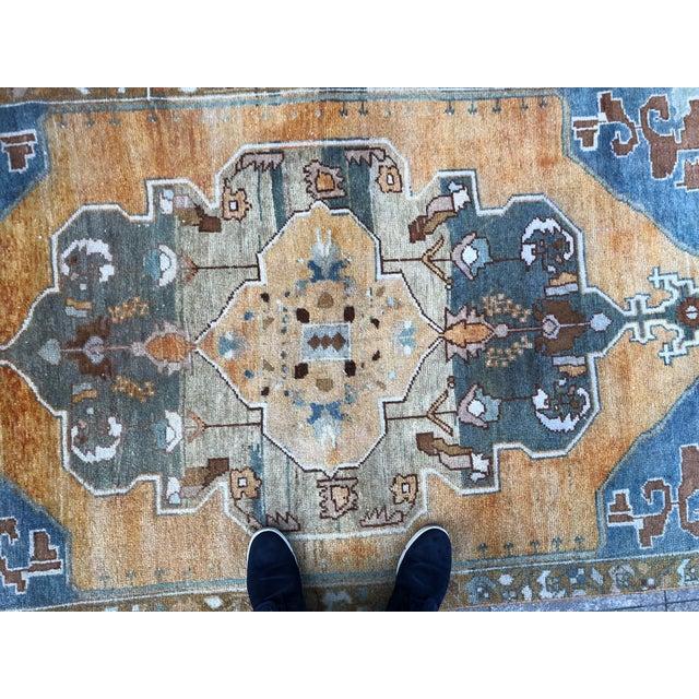 Textile 1960s Vintage Turkish Oushak Rug - 4′ × 7′6″ For Sale - Image 7 of 11