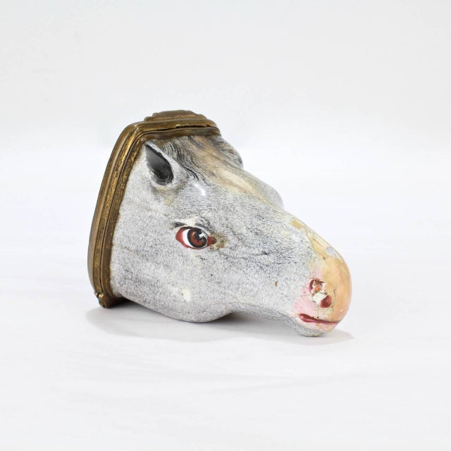 Gray Antique English Figural Horse Head Battersea Staffordshire Enamel Bonbonniere For Sale - Image 8 of 11