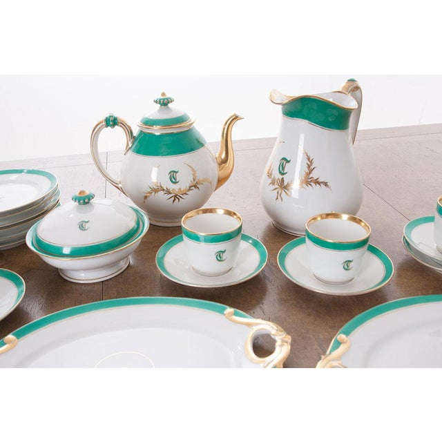 """Mid 19th Century French 19th Century Old Paris """"T"""" Dessert Service - Set of 33 Pieces For Sale - Image 5 of 10"""
