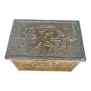 Vintage Brass Coal Box For Sale