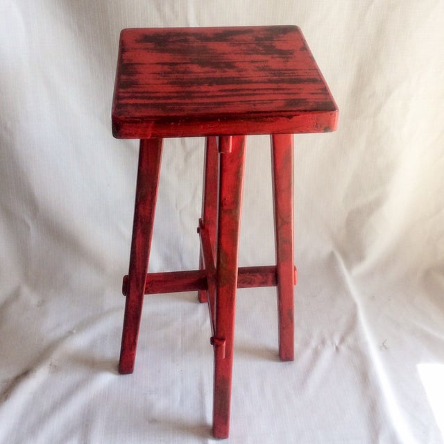 Hand Made Distressed Red Square Bar Stool - Image 5 of 9