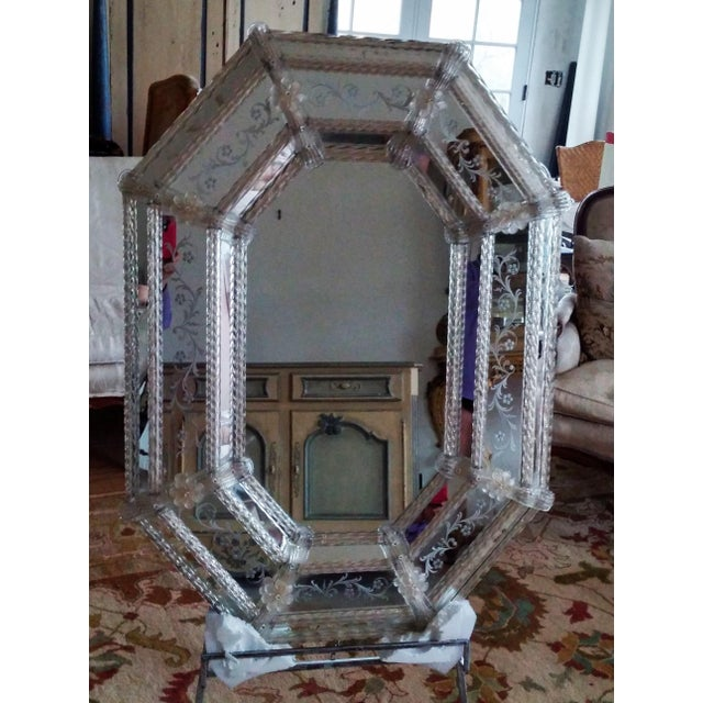 Large Vintage Venetian Etched Octagonal Wall Mirror For Sale In Portland, OR - Image 6 of 6