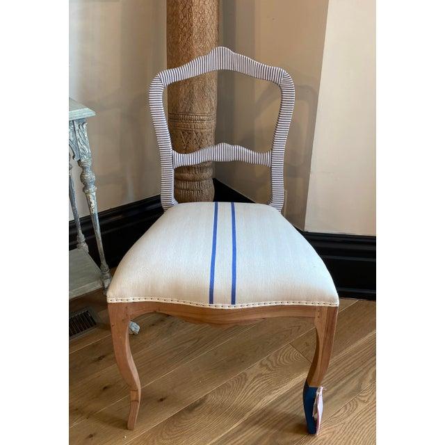 Bunakara Fingerprint Two Stripe Side Chair in Ultra Marine For Sale In Louisville - Image 6 of 6