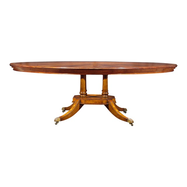 Flame Mahogany Round Dining Table For Sale