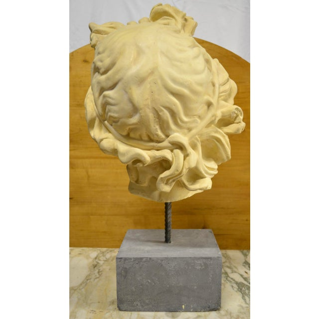 NeoClassical Plaster Bust Sculpture - Greek God's Head on Stone Base For Sale - Image 9 of 10