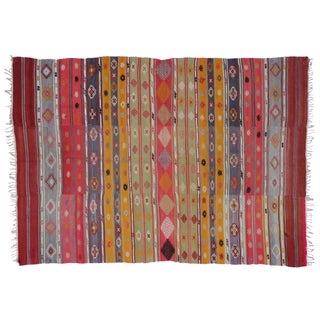 "Vintage Turkish Tribal Kilim Rug - 5'7"" X 7'10"" For Sale"
