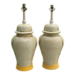 Vintage Faux Bamboo Basket Weave Ginger Jar Lamps-Pair For Sale