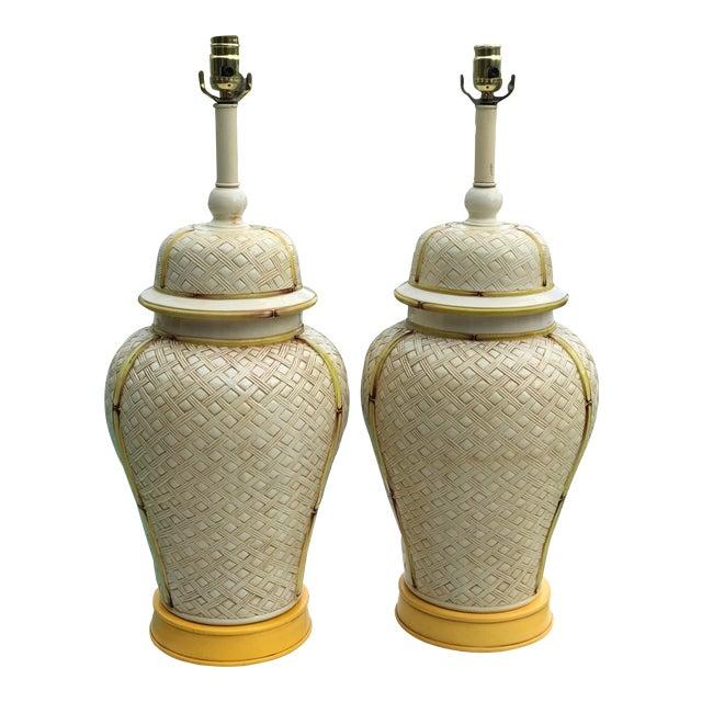 Vintage Faux Bamboo Basket Weave Ginger Jar Lamps-Pair For Sale