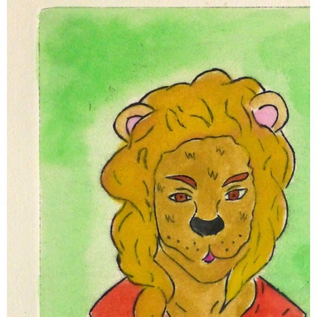 Bright and lively etching colored with acrylics of an anthropomorphic lioness-woman by Mexican artist Ana May, 2012....