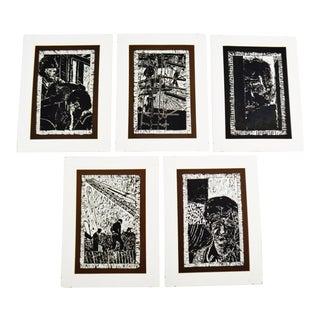 Vintage Elaine Hudson Hamilton Artist Proof Woodcut Etchings - Group of 5 For Sale