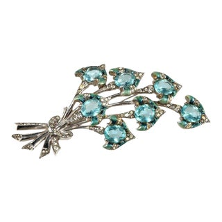 Boucher 4.25 Inch Enameled Blue Flowers Rhinestone Brooch Pin For Sale