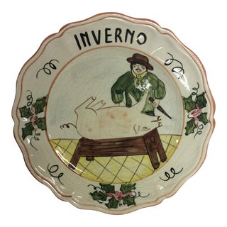 "Italian Hand Painted ""Inverno Winter"" Charger Plate"