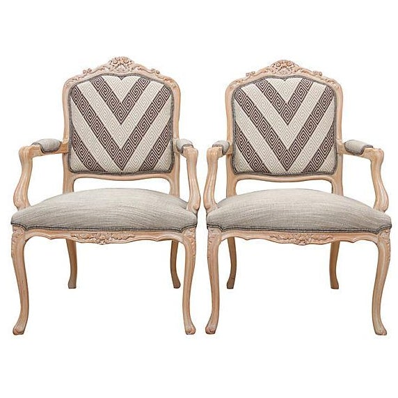 Greek Key Rocaille Fauteuils - A Pair - Image 1 of 7