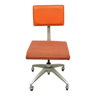 Vintage Mid Century Modern Atomic Era Adjustable Orange Desk Office Chair For Sale