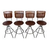 Image of Arthur Umanoff Style Back Slat Back Bar Stools - Set of 4 For Sale