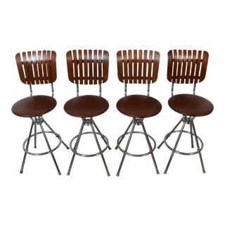 Arthur Umanoff Style Back Slat Back Bar Stools - Set of 4 For Sale