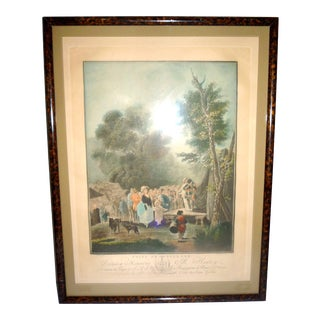 Late 18th Century Antique Descourtis-Taunay Foire De Village Framed Etching Print For Sale