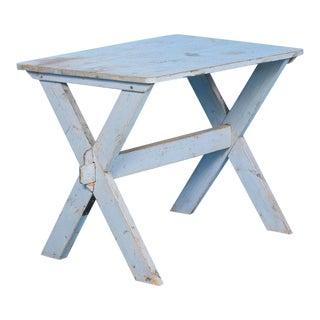Antique Swedish Blue Trestle Table, Circa 1870 For Sale