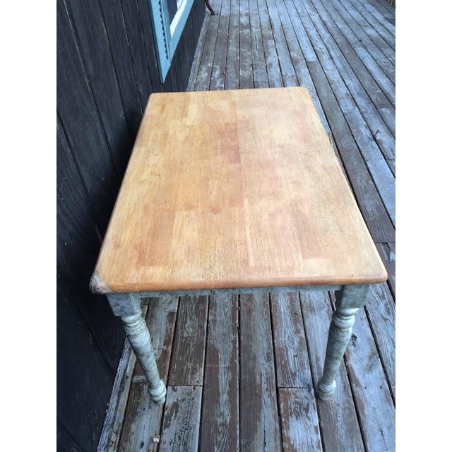 Brown Shabby Chic Farm Table - Oak Top For Sale - Image 8 of 11