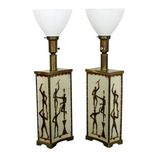 Art Deco Super Rare Maurice Heaton Pair of 4 Panel Tribal Table Lamps Glass