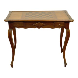 Vintage French Country Style 2 Drawer Scallop Edge Game Table Checkers Chess
