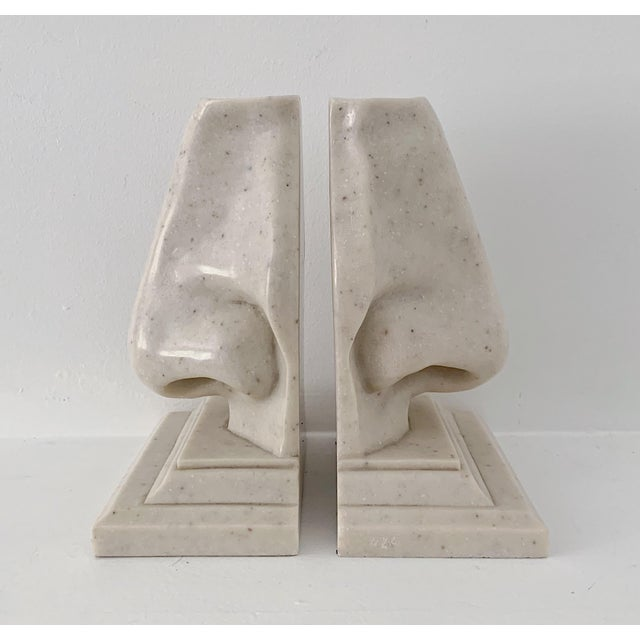 Vintage Oversized Nose Faux Marble Bookends - a Pair For Sale - Image 4 of 5