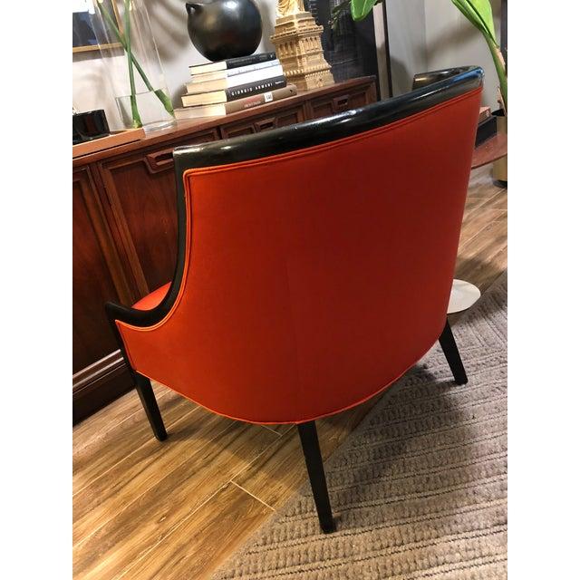 Barbara Barry Hollywood Regency Burnt Orange Barrel Back Low Arm Slipper Chair For Sale - Image 4 of 8