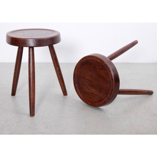 Pair of French oak stools in excellent condition.
