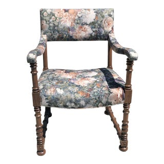Turned Wood Chair in Custom Floral Upholstery For Sale