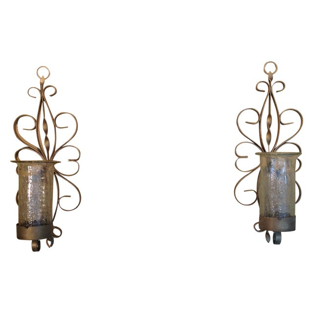 Gold Enameled Candle Sconces with Glass Shades - Image 1 of 5