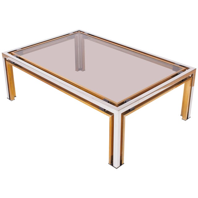 1970s Romeo Rega Coffee Table in Brass and Chrome For Sale - Image 5 of 5