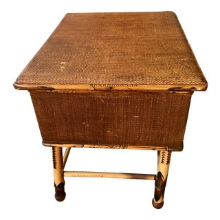 Antique Bamboo and Wicker Stool For Sale