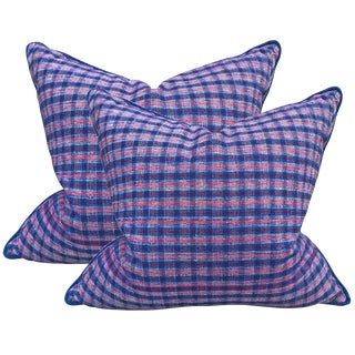 Vintage Chinese Cotton Plaid Pillows - a Pair For Sale