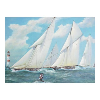 Nautical Yacht Racing Oil on Canvas, M Whitehand For Sale