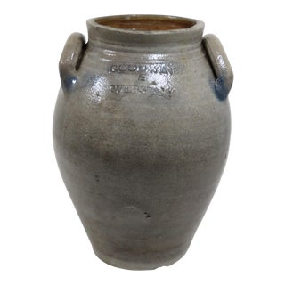 Mid 19th Century Vintage Early American Stoneware Storage Jug For Sale