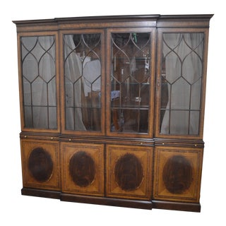 EJ Victor Large Mahogany Satin Wood Inlaid Breakfront China Cabinet (B) For Sale