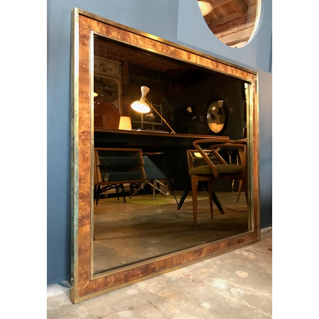 Art Deco Tommaso Barbi Attributed Oversized Modern Brass Wall Mirror, Italy, 1970s For Sale - Image 3 of 9