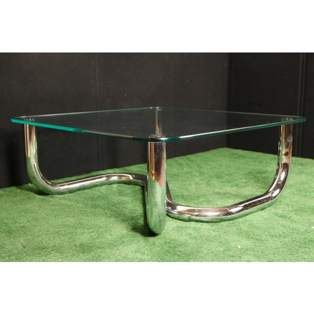 Modern Chrome Tubular Coffee Table - Image 7 of 11