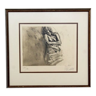 Mid-Century Modern Framed Lithograph Print of Nude Signed Aldo Luongo Numbered For Sale