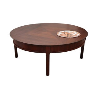 1960s Chinoiserie Lazy Susan Coffee Table With Hidden Storage and Burner For Sale